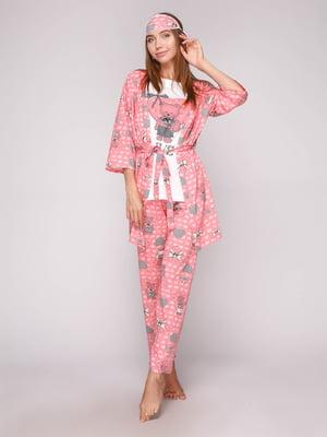 Пижама: футболка, брюки, халат и маска для сна | 5106150