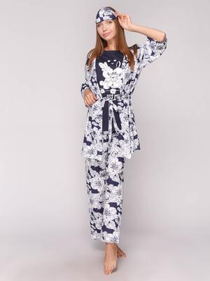 Пижама: футболка, брюки, халат и маска для сна | 5106152
