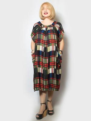 Платье оливкового цвета в принт | 5115668