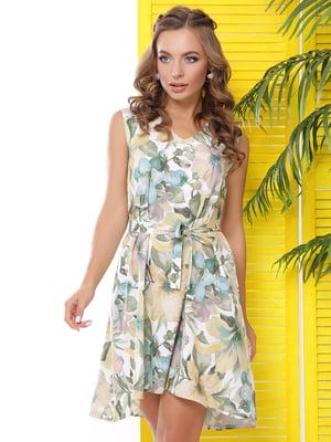 Сукня молочного кольору з квітковим принтом | 5116075