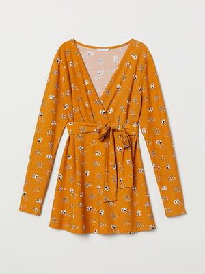 Блуза горчичного цвета с цветочным принтом | 5113344