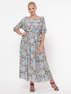 Сукня блакитна в квітковий принт | 5117537