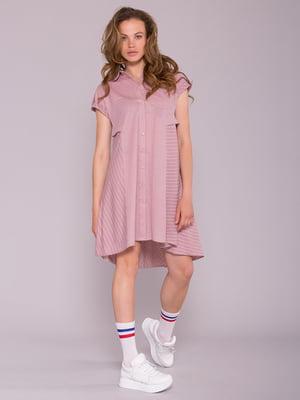 Платье розовое в полоску | 5094726