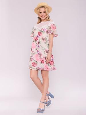 Платье серое в цветочный принт | 5094762