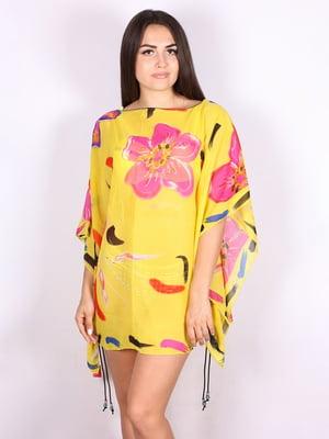 Туника пляжная желтая с цветочным принтом | 5117652