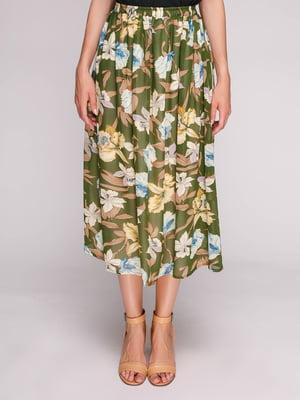 Спідниця зелена з квітковим принтом   5110375
