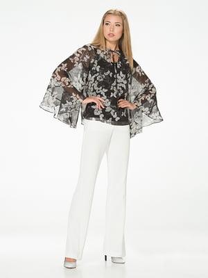 Блуза чорна з квітковим принтом | 5115719