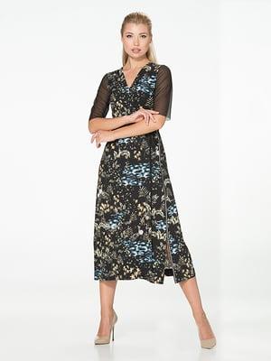 Сукня чорна з принтом | 5115916