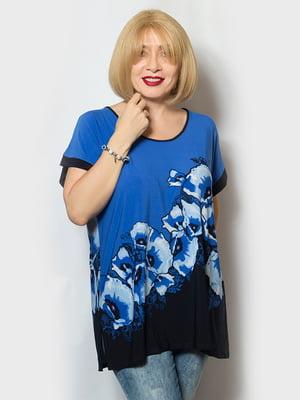 Блуза двоколірна з принтом | 5123638