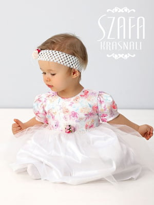 Сукня біла з квітковим принтом і пов'язкою на голову | 4246428
