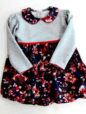Сукня сіро-синя з квітковим принтом | 4246420