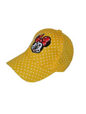 Бейсболка жовта в горох з вишивкою   5124333