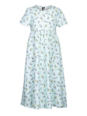 Платье голубое в принт | 5124696