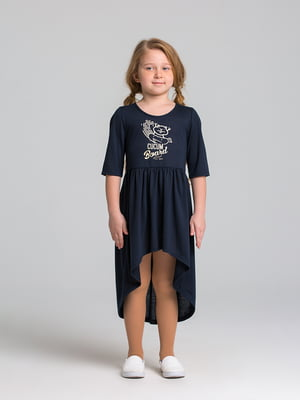 Платье синее с принтом | 5124699