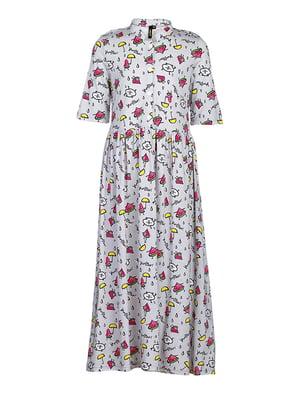 Платье серое в цветочный принт | 5124707