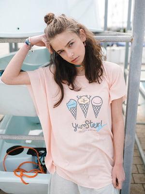Футболка розовая с принтом | 5124755