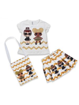 Комплект: футболка, спідниця і сумка | 5126004