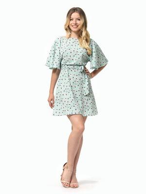 Платье мятного цвета в цветочный принт | 5126145