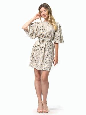 Платье песочного цвета в цветочный принт | 5126146