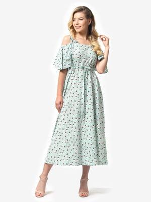 Платье мятного цвета в цветочный принт | 5126150