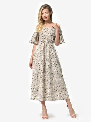 Платье песочного цвета в цветочный принт | 5126152