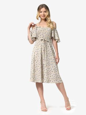 Платье песочного цвета в цветочный принт | 5126153