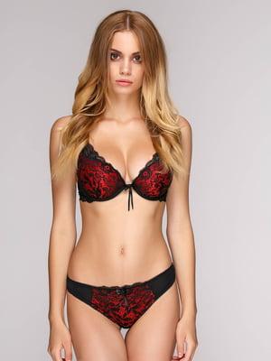 Комплект: бюст і стрінги чорно - червоного кольору.   5127490