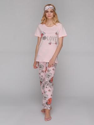 Пижама: футболка, брюки и маска для сна | 5115211