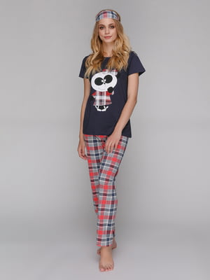 Пижама: футболка, брюки и маска для сна | 5115220