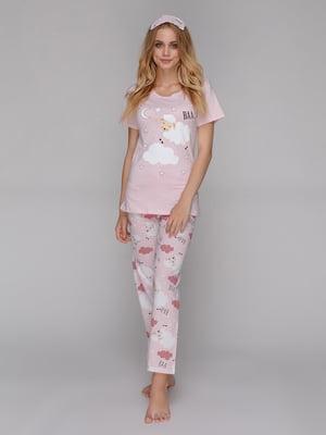 Пижама: футболка, брюки и маска для сна | 5115210