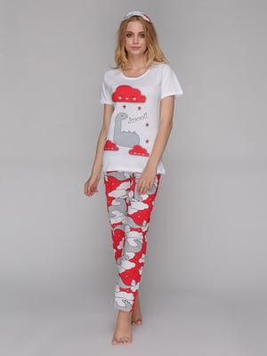 Пижама: футболка, брюки и маска для сна | 5115216