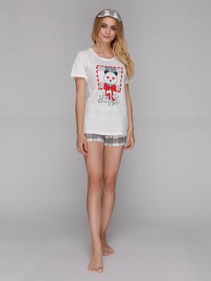 Пижама: футболка, шорты и маска для сна | 5115212