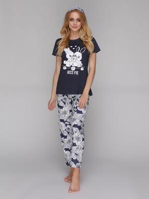 Пижама: футболка, брюки и маска для сна | 5115213