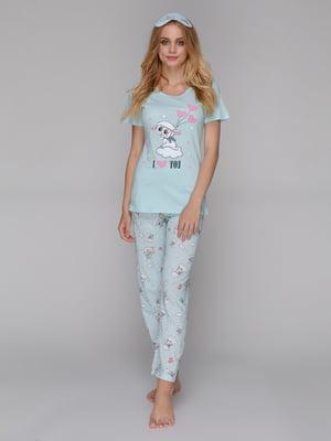 Пижама: футболка, брюки и маска для сна | 5115215