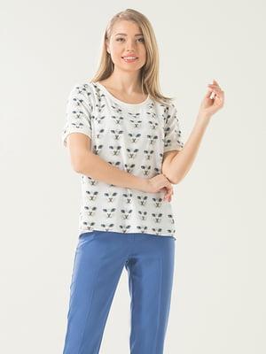 Блуза молочного кольору з принтом   5114034