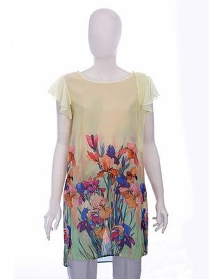 Блуза желтая в цветочный принт | 5114063