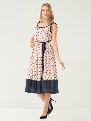 Сукня рожево-синя з принтом | 5120738