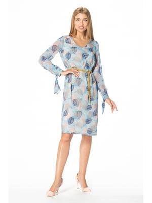 Платье голубое с принтом | 5129063