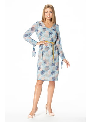 Сукня блакитна з принтом | 5129063
