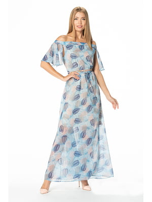 Сукня блакитна з принтом | 5129064