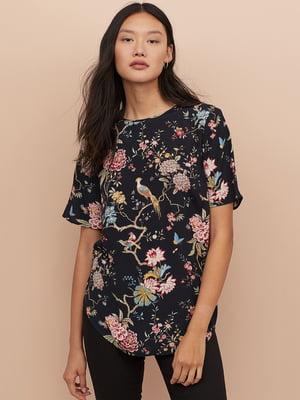 Блуза чорна в квітковий принт | 5072726