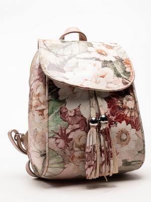 Сумка-рюкзак пудровоого кольору в принт | 5129162