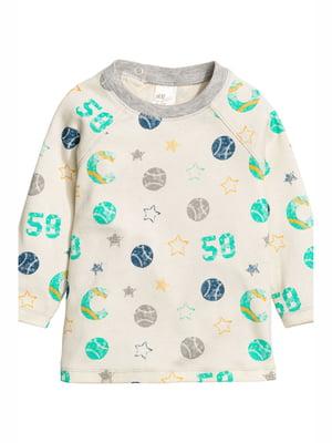 Лонгслив молочного цвета с принтом пижамный | 5134175