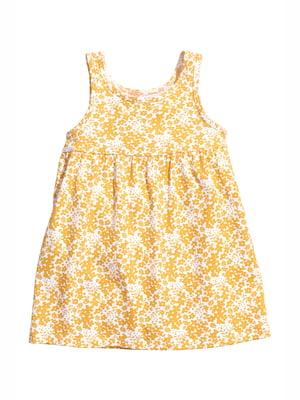 Сарафан бело-желтый с цветочным принтом   5134754