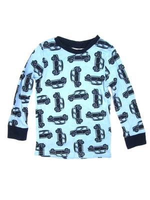 Лонгслив голубой с принтом пижамный | 5134893