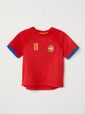 Футболка красная с принтом   5135559