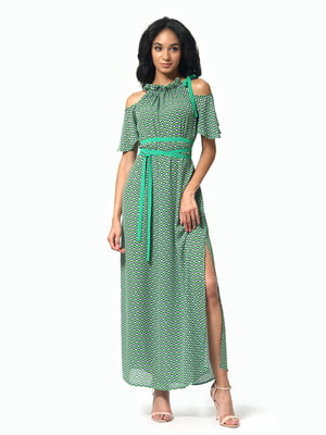 Платье зеленое с принтом | 5136798