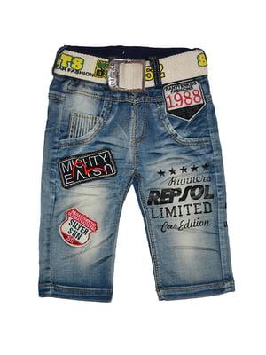 Шорти сині джинсові з аплікаціями   5136850