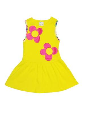 Платье желтое с принтом   5136858