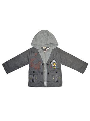 Пиджак серый с принтом | 4214728